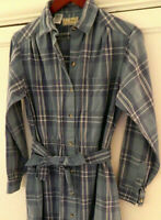 Vtg LL BEAN Shirtdress Dress Plaid Flannel 14 XL Blue Belted