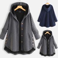 Womens Winter Warm Fleece Hoodie Hooded Coat Casual Loose Long Jackets Oversized