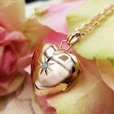 Rose Gold Plated Heart Locket Necklace With Cubic Zirconia