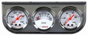 "Bosch 1 1/2"" Mini Triple Gauge Kit White / Chrome Bezel FST8092 Authorized"