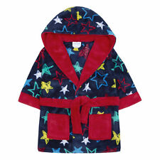 Baby Boys Dressing Gown Robe Star Print Plush Fleece Snuggle Soft Warm Hooded