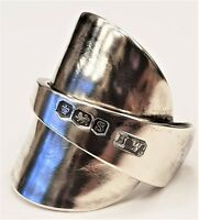 Solid 925 sterling silver hallmarked vintage 1960 spoon ring SIZES O P Q R S