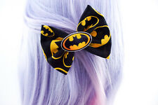 Batman Black and Yellow Medium Fabric Hair Bow with Decoration Superhero Geeky