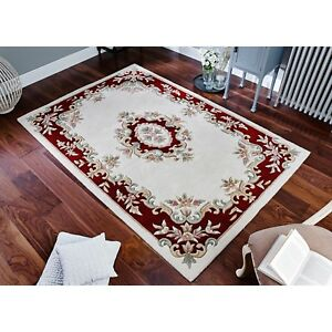 Royal Aubusson Cream Red Thick Wool Rug in various sizes half moon and circle