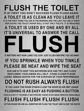 Metal sign metallic humour Flush toilet bathroom quote tin wall home door plaque