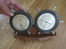 Vintage Airguide Two Ship Wheel Weather Station Thermometer Barometer Hygrometer