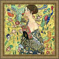 Lady with a Fan by Gustav Klimt 69cm x 69cm Framed Ornate Gold