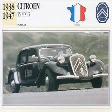 1938-1957 CITROEN 15 SIX G Classic Car Photograph / Information Maxi Card