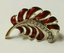 Faberge Firebird Franklin mint Diamond Red Enamel Brooch. Rare 14k