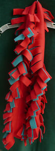 Red & green fleece scarf fringed handmade NEW