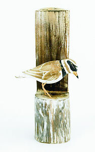 Wood carving of a PLOVER ON POST by Archipelago - D356 carvings