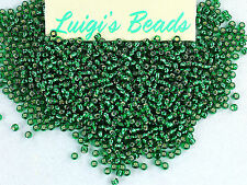 11/0 Round Toho Japanese Glass Seed Beads #36-Silver-Lined Green Emerald 15grams