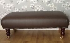 Footstool / Stool In Laura Ashley Carlton Faux Leather Cocoa Fabric