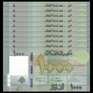 Lot 10 PCS, Lebanon 1000 1,000 Livres, 2016, P-90, UNC