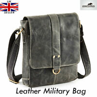 Black Hunter 100% Real Leather Messenger/Cross Shoulder Body Bag RRP £140 UK New