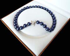 12mm dunkel Blau Muschelperle halskette 46 cm