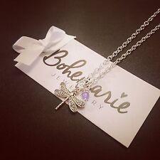 18 Inch dragonfly charm necklace gemstone bijoux jewellery boho gypsy jade