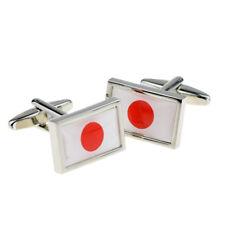 Bordée de haute qualité Boutons Manchette Drapeau Japonais x2psn170a