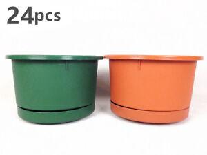 24x Round Plastic Planter Flower Pots w Saucer 21cm Garden Planter Holder #1636