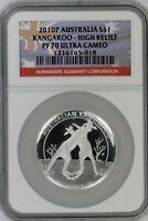 2010-P Australian Kangaroo $1 NGC PF70 Ultra Cameo High Relief Flag Label