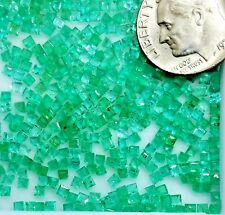 12 pc Lot Natural Colombian Emerald loose Brite Green Stones tiny facet Squares
