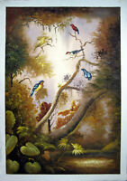 ZOPT35 100% hand painted LANDSCAPE BIRDS DECOR ART OIL PAINTING ON CANVAS