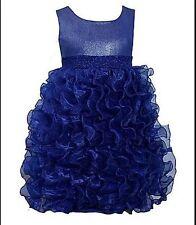 Dress Girls Organza Cascading Ruffles Size 6X Party Wedding Holiday