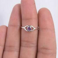 Amethyst Solitaire Ring Size 7 925 Solid Sterling Silver Handmade Jewelry