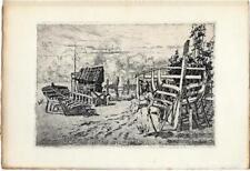 Orville Houghton PEETS Barques à Concarneau Eau-forte originale Gazette Bx-arts