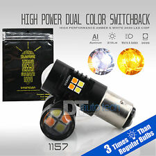 1157 White Amber Projector Dual Color Switchback LED Signal Light Bulbs+Resistor