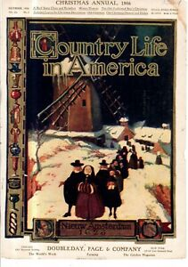 1906  Country Life December Cover only - Puritans and Pilgrims in New Amsterdam