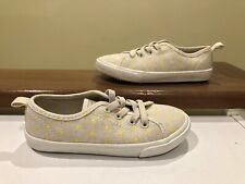 Old Navy Kids Plimsoll Shoes Size 9 Grey & Yellow Polka Dots