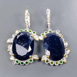One of a kind SET Blue Sapphire Earrings Silver 925 Sterling   /E58081