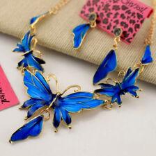Betsey Johnson Set Jewelry rhinestone Enamel butterfly earring and necklace fine