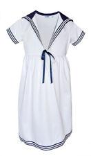 Modas Kinder Mädchen Matrosenkleid weiß blau maritim Baumwolle Kleid 74-140