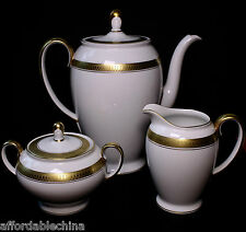 Rosenthal Porcelain White & Gold Band Coffee Pot Creamer and Sugar Bowl Perfect