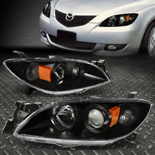FOR 2004-2009 MAZDA 3 BLACK HOUSING AMBER SIDE EURO PROJECTOR HEADLIGHT/LAMP SET