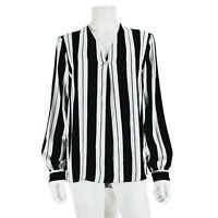 F&F Black White Stripe Top Blouse UK 16 V-Neck Long Sleeve