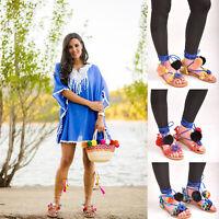 Ladies Womens Summer Gladiator Pom Pom Strap Flat Sandal Beach Shoes Size 3-7
