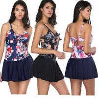 Women Floral Printed Tankini Swimdress Bowknot One Piece Swimsuit Swimwear Skirt