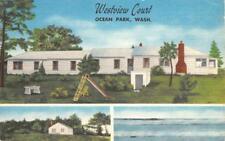 WESTVIEW COURT Ocean Park, Washington Roadside Hotel Vintage 1960 Postcard