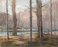 FISHERMAN IN FOREST Antique Watercolour Painting c1920 INDISTINCTLY SIGNED