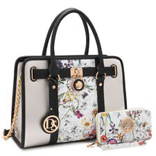 Women Medium Satchel Handbag Shoulder Bag Ladies Purse with Matching Wallet
