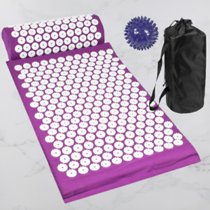 Acupressure Set Mat Pillow Ball Pain Relief Circulation Pressure Points - Purple