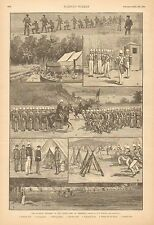 NY National Guard, The 7th Regiment, State Camp At Peekskill, 1887 Antique Print