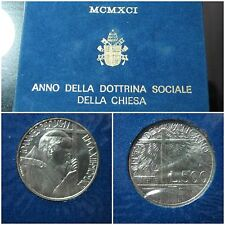 1991 VATICAN RARE SOCIAL DOCTRINE JOHN PAUL 2nd 500 lire SILVER UNC COIN FOLDER