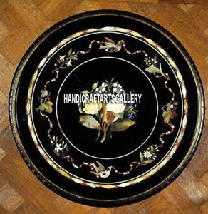 "18"" Black Marble Kitchen Decor Plate Mosaic Beautiful Handmade Home Design H3285"