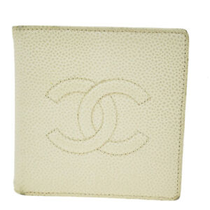 Auth CHANEL CC Bifold Wallet Purse Caviar Skin Leather Ivory Vintage 02BS244