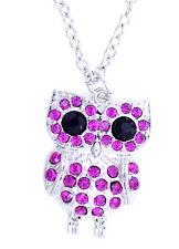 collana in argento fascino tono gufo bella con cristallo rosa