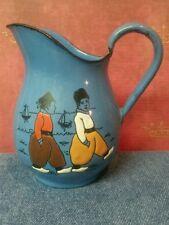 Vintage GMT Co. Germany Blue Porcelain/Metal Hand Painted Figure Design Creamer